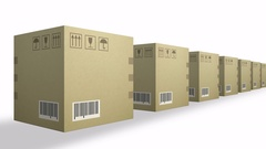 Moving row of corrugated cardboard box packages isolated on white background Stock Footage