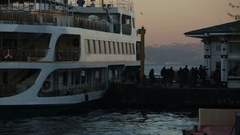 Commutters going onto a ferry in Istanbul (Bosphorus) Stock Footage