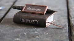 University rankings concept, text and vintage book Stock Footage