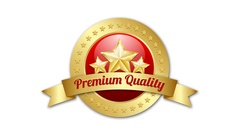 Three golden stars symbol with Premium quality ribbon and plaque. Stock Footage