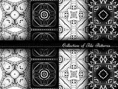 Vector Collection of Black and White Seamless Vintage Patterns Stock Illustration