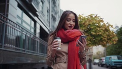 Attractive European brunette girl with red lipstick, long hair and stylish look Stock Footage