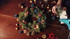 Shot of person making Christmas wreath Stock Footage
