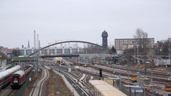Many train tracks, Warschauer Strasse train station, Berlin, Germany Stock Footage