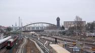 Many train tracks, Warschauer Strasse train station, Berlin, Germany Stock Footage
