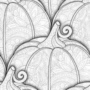 Vector Monochrome Seamless Pattern with Decorative Pumpkin Stock Illustration