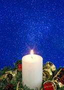 Beautiful Christmas Decorations With Lit Candle Stock Photos
