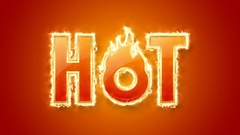 Glossy golden hot lettering with burning fire effect on orange background. Stock Footage