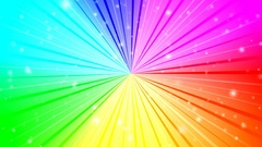 Rotating rays with burst effect and particles on colorful gradient background. Stock Footage