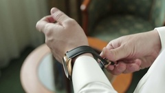 Dress watch on a hand Stock Footage