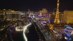 Aerial View of Las Vegas Strip with Bellagio Fountain show. Stock Footage