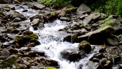 Mountain stream with large dark stones Stock Footage