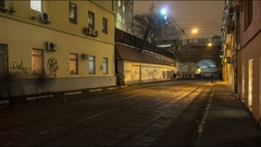 Crowd of people walking along tramway and train railings, time lapse Stock Footage