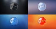 Stop 3d Icon Stock Footage