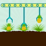 Mechanical harvesting pineapples Stock Illustration