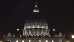 Basilica Di San Pietrorome City Tourism Emblem in Night View. Stock Footage