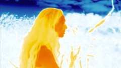 Infrared thermal heat image, woman performing yoga exercises Stock Footage