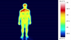 Infrared thermal male body heat scan, torso rotation 360 Stock Footage