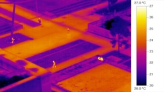 Infrared thermal video timelapse, people in urban heat environment Stock Footage