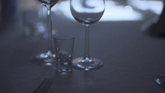 Decorated table for a wedding dinner Stock Footage