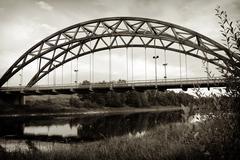 Norway city wooden bridge sepia background Stock Photos