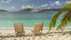 Beach chairs at Salomon Bay, St John Stock Footage
