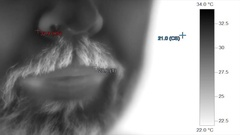 Thermographic heat image of male bearded mouth speaking Stock Footage
