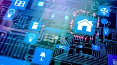 Smart home/ smart house processor chip concept on motherboard Stock Illustration