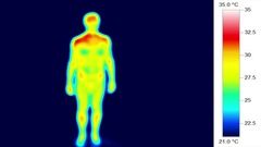 Thermographic medical imaging, nude male body rotation 360 Stock Footage