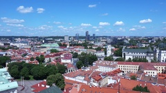 Aerial Time Lapse of Vilnius City at Sunny Day Stock Footage