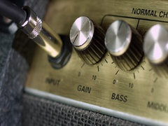 Amplifier with plugged guitar cable jack Stock Footage