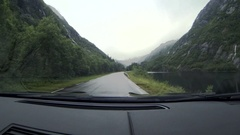 Mountain scenery from the interior of the car Stock Footage
