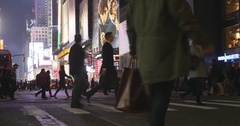 Evening Nightime Pedestrians Times Square New York City 4K Stock Footage