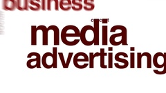 Media advertising animated word cloud. Stock Footage