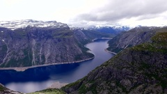 Norway. Mountains. Fjords. Lake. Stock Footage