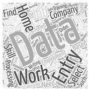 Home data entry employment word cloud concept Stock Illustration