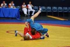 Orenburg, Russia - 29 October 2016: Girls compete in Sambo Stock Photos