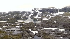 Mountain snow-capped peaks. Fjord. Norvegiya Stock Footage