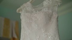 Wedding dress in hotel room Stock Footage