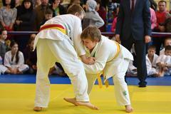 Orenburg, Russia - 05 November 2016: Boys compete in Judo Stock Photos