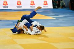 Orenburg, Russia - 21 October 2016: Boys compete in Judo Stock Photos