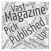 Picking Up the Right Magazine Publishing for You word cloud concept Stock Illustration