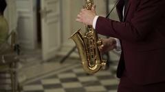 SAINT-PETERSBURG, RUSSIA,  Saxophonist playing music Stock Footage