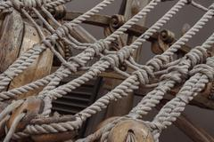 Sailing tackles of an ancient sailing vessel Stock Photos