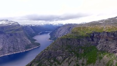 Norway,  Landscape.  Lake.  Mountains. Аerial survey. Stock Footage