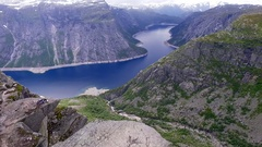 Norway. Landscape.  Lake.  Mountains. Аerial survey. Stock Footage