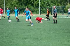Orenburg, Russia - 9 July 2016: The boys play football Stock Photos