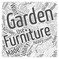 How essential are garden furniture covers word cloud concept Stock Illustration