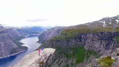 Norway, Аerial survey. Landscape. Trolltunga. Stock Footage