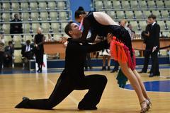 Orenburg, Russia - 12 November 2016: Girl and boy dancing Stock Photos